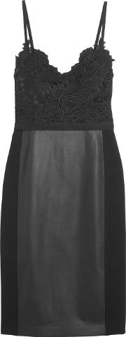 Catherine Deane , Gwen Guipure Lace, Faux Leather And Jersey Dress Black