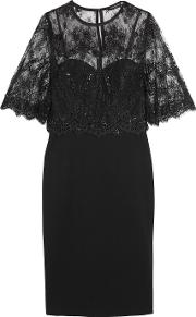Catherine Deane , Layered Lace And Ponte Dress Black