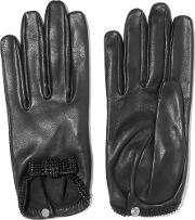 Causse Gantier , Grace Crystal Embellished Leather Gloves Black