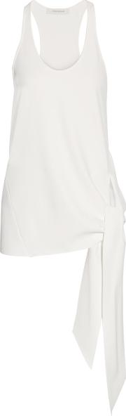 Cedric Charlier , Knotted Stretch Crepe Top Ivory