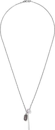 Chan Luu , Silver Tone, Faux Pearl And Stone Necklace Gunmetal