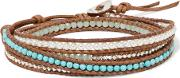 Chan Luu , Sterling Silver Beaded And Faux Pearl Leather Bracelet Turquoise