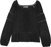 Chelsea Flower , Crocheted Paneled Pintucked Cotton Top Black