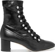 Chelsea Paris , Malika Studded Lace Up Leather Ankle Boots Black