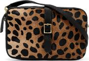 Clare V , Printed Calf Hair And Textured Leather Shoulder Bag Black