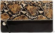 Clare V , Printed Fold Over Calf Hair Clutch Black
