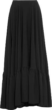 Co , Tiered Crepe Maxi Skirt Black
