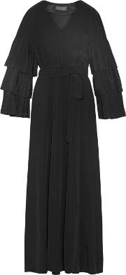 Co , Wrap Effect Pleated Silk Crepe Maxi Dress Black