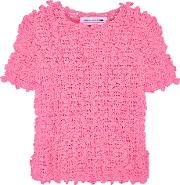 Comme Des Garcons Girl , Ruffled Crochet Knit Sweater Pink