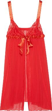 Cosabella , Tulle, Lace And Satin Babydoll Chemise Red