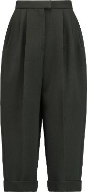 Delpozo , Cropped Pleated Wool Blend Tapered Pants Dark Green