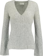 Derek Lam 10 Crosby , Button Detailed Ribbed Cashmere Sweater Gray