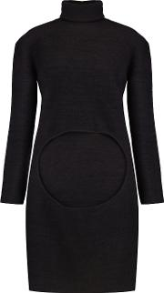 Dion Lee , Circle Cutout Merino Wool Turtleneck Sweater Midnight Blue