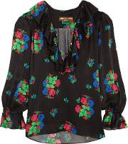 Duro Olowu , Ruffled Floral Print Silk Satin Blouse Black