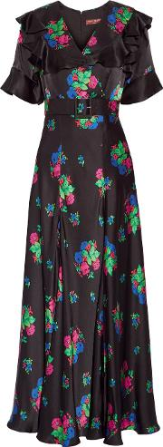 Duro Olowu , Wrap Effect Floral Print Silk Satin Maxi Dress Black
