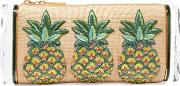 Edie Parker , Soft Lara Pineapples Embroidered Raffia And Acrylic Box Clutch Beige