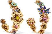 Elizabeth Cole , Gold Tone Crystal And Resin Earrings One Size