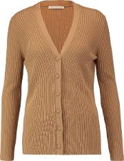 Emilia Wickstead , Libby Ribbed Wool, Silk And Cashmere Blend Cardigan Tan