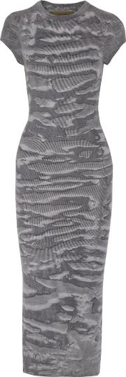 Enza Costa , Printed Ribbed Knit Midi Dress Gray