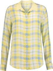 Equipment , Audrey Printed Washed Silk Shirt Yellow