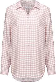 Equipment , Gingham Washed Silk Shirt Antique Rose