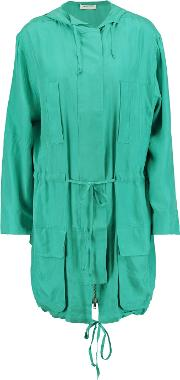 Equipment , Hooded Washed Silk Jacket Turquoise