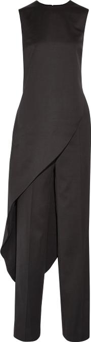 Esteban Cortazar , Asymmetric Wool Top And Wide Leg Pants Black