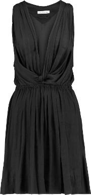 Etoile Isabel Marant , Bazin Draped Crepe De Chine Mini Dress Black
