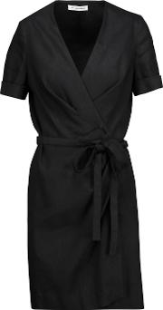 Etoile Isabel Marant , Kansas Wrap Effect Linen Blend Canvas Mini Dress Black