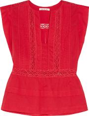 Etoile Isabel Marant , Rodge Lace Trimmed Cotton Voile Top Red