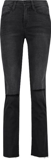 Frame , Le High Distressed High Rise Bootcut Jeans Charcoal