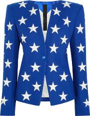 Gareth Pugh , Embroidered Wool Blend Blazer Royal Blue