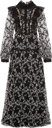 Giambattista Valli , Metallic Paneled Frayed Boucle Tweed, Guipure Lace And Crepe Mini Dress Black