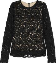 Goen J , Crochet Knit Sweater Black