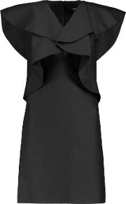 Goen J , Draped Wool And Silk Blend Mini Dress Black