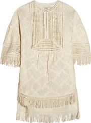 Goen J , Fringed Embroidered Cotton Top Beige
