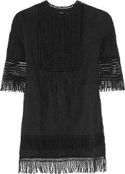 Goen J , Fringed Embroidered Cotton Top Black