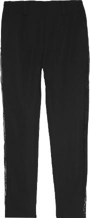Goen J , Lace Trimmed Crepe Slim Leg Pants Black
