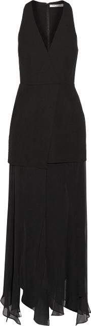 Halston Heritage , Asymmetric Satin And Chiffon Paneled Crepe Midi Dress Black