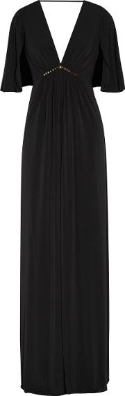 Halston Heritage , Embellished Pleated Stretch Jersey Gown Black