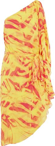 Halston Heritage , One Shoulder Crinkled Printed Silk Chiffon Dress Coral