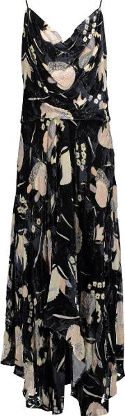Haute Hippie , The Solitaire Ruffled Floral Print Chiffon And Velvet Maxi Dress Black