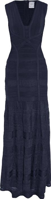 Herve Leger , Miriam Bandage And Pointelle Gown Midnight Blue