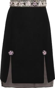 Holly Fulton , Embellished Wool Blend Boucle And Silk Organza Skirt Black
