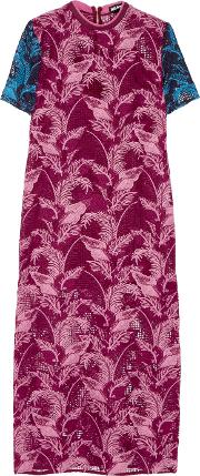 House Of Holland , Crocheted Lace Midi Dress Plum