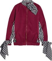 House Of Holland , Jersey And Gingham Poplin Sweatshirt Claret