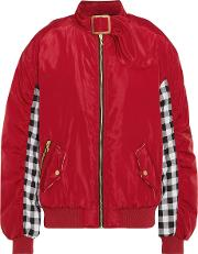 House Of Holland , Shell And Checked Cotton Bomber Jacket Red