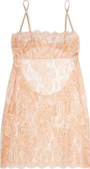 Id Sarrieri , I.d. Sarrieri Chantilly Lace And Tulle Chemise Blush