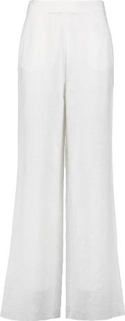Iris And Ink , Linen And Cotton Blend Wide Leg Pants White