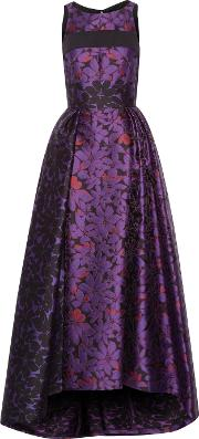 J Mendel , Cutout Pleated Printed Wool Blend Gown Grape